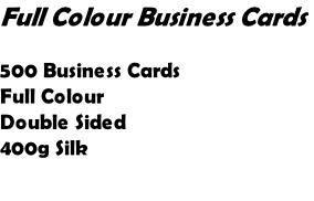 Full Colour Business Cards   500 Business Cards Full Colour Double Sided 400g Silk